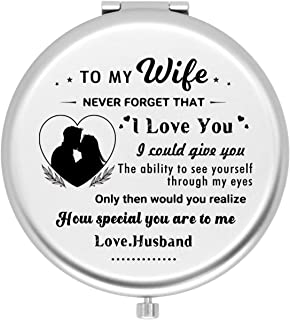 Onederful Wife Gifts Travel Compact Pocket Mirror for Wife from Husband,Valentine's Day Anniversary Birthday Gifts for Wif...
