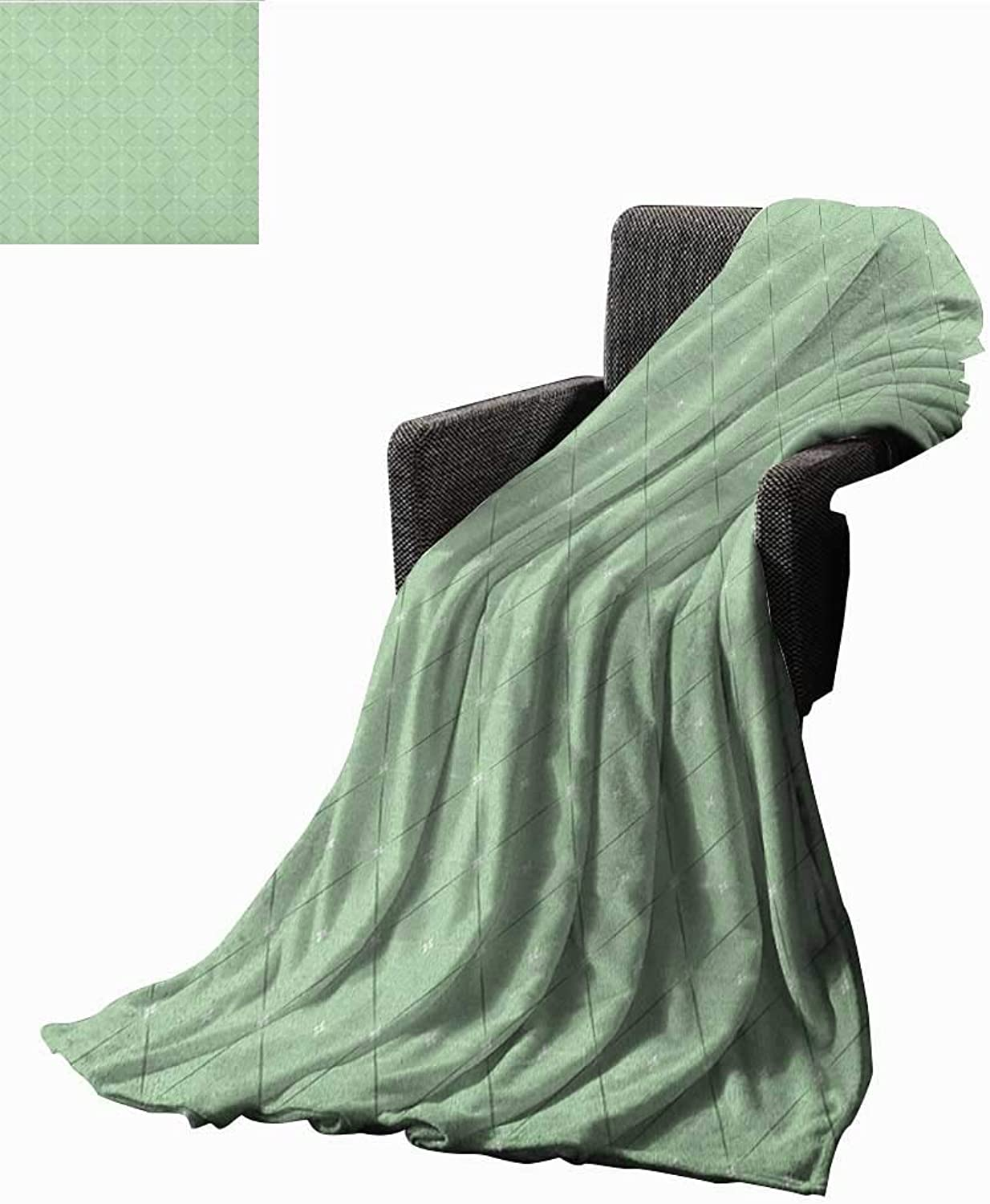 ScottDecor Bed or Couch 60  x 50 Abstract Lightweight Blanket Rhombus and Squares Pattern with Stripes and Flowers Geometric Arrangement Print Summer Quilt Comforter Pale Green White
