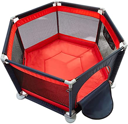 DHQL-Baby Playpen Playpens Hexagonal Red Children s Play Fence Anti-Fall Fence Ball Pit Indoor Safety Game Pen Activity Center with Thicken Cotton Pad