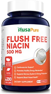Flush Free Niacin 500mg 200caps (Non-GMO & Gluten Free) Supports Nervous System and Energy Production