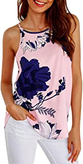 Auwer Camis Top, Women's Printed Tank Tops Sleeveless T Shirt Flower Comfy Blouse Top Casual Loose Summer Shirts