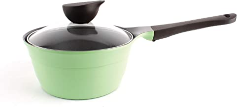 Neoflam Eela Nonstick Ceramic Saucepan with Integrated Steam Vent Glass Lid, Heat Resistant Handle, Saute Pan, Soup Boilin...