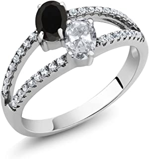 1.30 Ct Oval Black Onyx White Topaz 2 Stone 925 Sterling Silver Ring