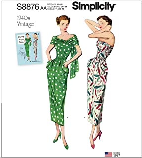 Simplicity Sewing Pattern S8876 AA Misses'/Women's 1940s Vintage Dress and Stole, Size 10-18