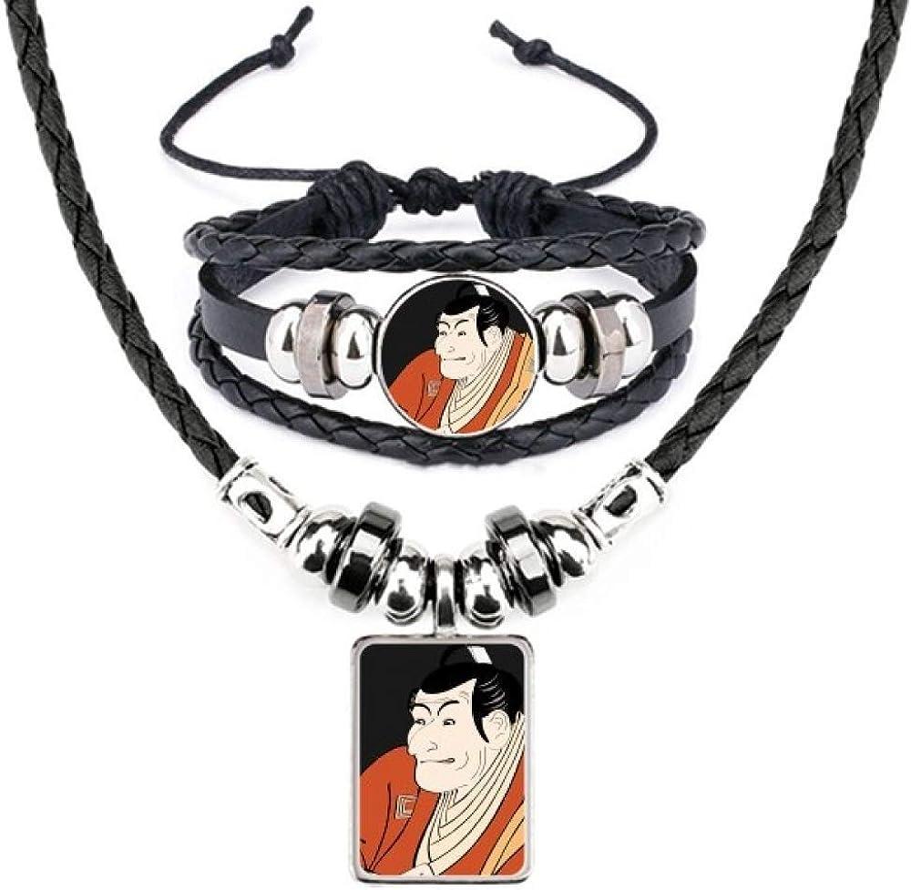 Japanese Style Ukiyoe Male Kimono Leather Necklace Bracelet Jewelry Set