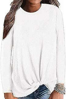 Womens Sweatshirt Casual Long Sleeve Knot Waffle Knit Tunic Blouse Cute Shirts Tops Loose Comfy Tunic
