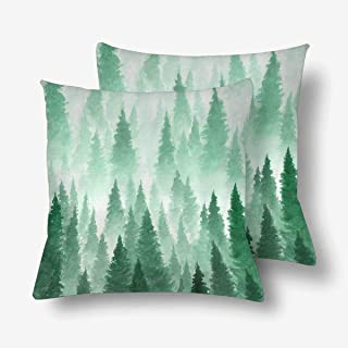 SPXUBZ Watercolor Foggy Forest Landscape Winter Hill Wild Naturess Pillow Cover Home Decor Nice Gift Square Indoor Pillowcase Set of 2 (Two Sides)