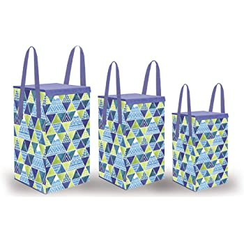 Wonder Cub Foldable Laundry Bag/Basket|Toy Storage Box with Lid,Combo of 3 pcs, Trio
