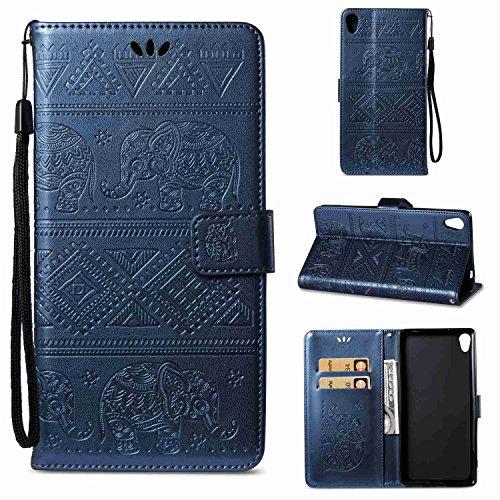 pinlu Schutzhülle Für Sony Xperia C6 Handyhülle Hohe Qualität PU Ledertasche Brieftasche Mit Stand Function Elefanten Muster Dunkelblau