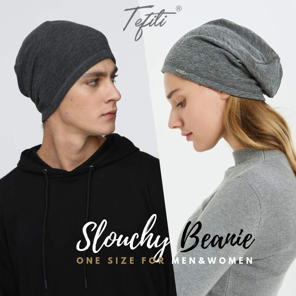 TEFITI Mens Beanie Hats Slouchy Warm Knit Skull Cap for Men Women Winter Unisex