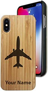Case Compatible with iPhone Xs Max, Jet Airplane, Personalized Engraving Included (Bamboo)