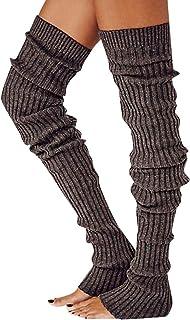 LUCSUN, Calentadores de pierna de punto para mujer y niña, calcetines de botas altas, extra largos para invierno