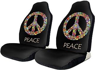GREEN ORANGE Peace Sign Batik Fabric Elongated Toilet Seat Cover Set