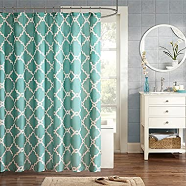 JLA Home INC Merritt Design Pattern Modern Fabric Shower Curtain,Simple Geometric Casual Shower Curtains for Bathroom, 72 X 96, Aqua
