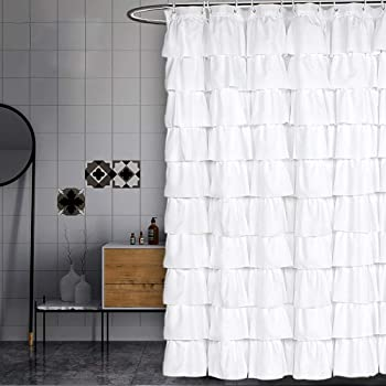 Volens White Shower Curtain Fabric/Ruffle for Bathroom,72in Long …