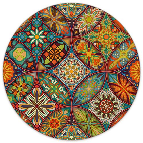 AUDIMI Large Round Mouse Pad Floral Mandala Ethnic Mouse Mat Non-Slip Rubber Base for Laptop PC Office Working Gaming 8.7 x 8.7 x 0.12 inches
