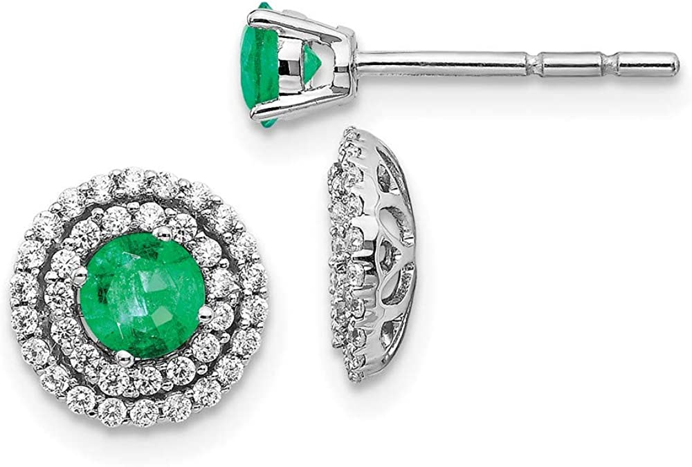 14k White Gold Diamond Green Emerald Stud Jacket Earrings Ball Button Birthstone May Fine Jewelry For Women Gifts For Her