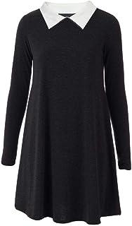 Effen jurk voor dames - swing jurk/skater jurk - midi-lengte/A-lijn/wijd uitlopend - lange mouwen/Peter Pan-kraag