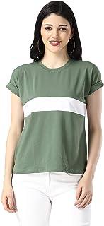 DHRUVI TRENDZ Women's Half Sleeve Plain Lycra Top