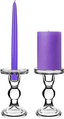 キャンドルホルダー キャンドルスタンド クリアガラス 透明 2セット (14)