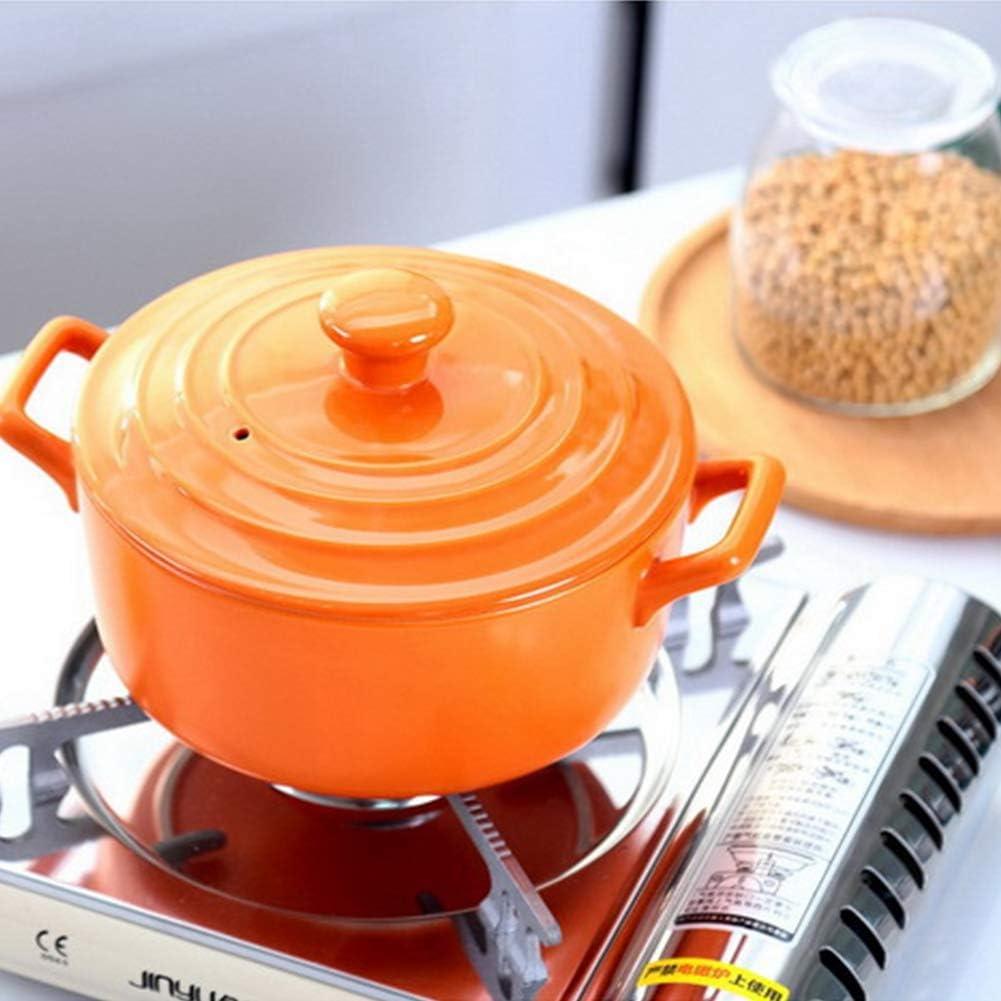 WZF Plat à rôtir Rond en céramique avec Couvercle Casserole à Soupe Tapas Plat à Four avec Couvercle pour la Maison Rond 20 cm 2 2 litres-4 2