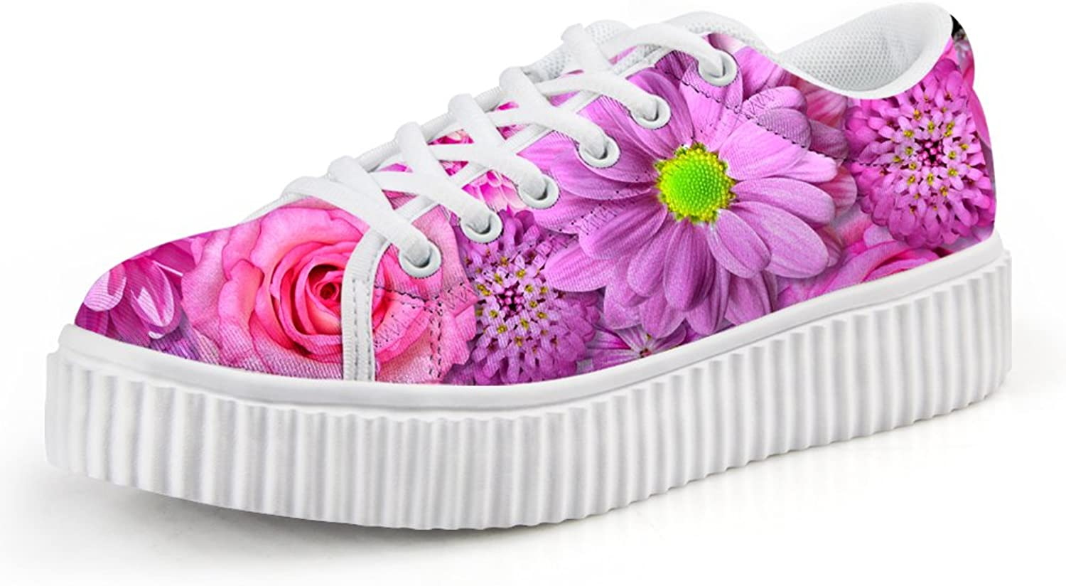 Chaqlin Pink Floral Flat shoes for College Girls Lace-up Size 36