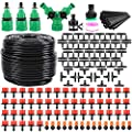 """Garden Irrigation System 164FT 200 Pack Drip Irrigation Kit 1/4"""" Blank Distribution Tubing Watering Drip Kit Automatic Irrigation Equipment for Garden Greenhouse, Flower Bed,Patio,Lawn"""