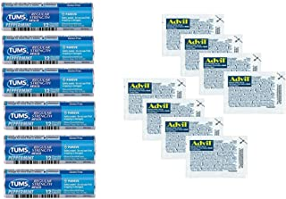 Tums Peppermint Antacids and Advil Travel Medicine Packs - Relief for Menstrual Cramps, Hangovers, Heartburn, Indigestion, Headaches and Pain | Bundle Set