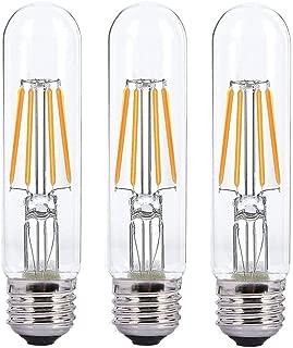 Dimmable 4W Tubular LED Bulb, Edison Style COB LED Filament Bulb, T10 Nostalgic Bulb, E26 Medium Base, 2700K-3000K Warm White,400LM,Clear Glass Cover, 3-Pack