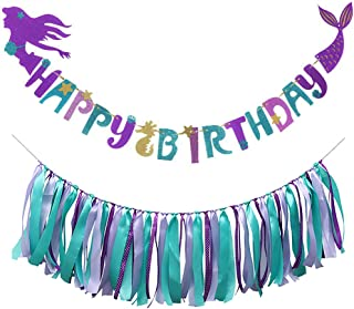 Mermaid Happy Birthday Banner with Mermaid Ribbon Tassel Garland Under the Sea Mermaid Theme Party Decoration for Kids