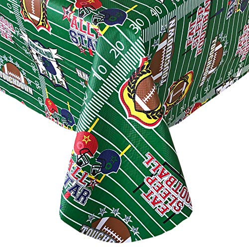 "Newbridge All Stars Football Theme Vinyl Flannel Backed Tablecloth - Footballs and Cheers Fun Print Tablecloth for Tailgating and Football Parties, Easy Care Wipe Clean 60"" x 84"" Oblong/Rectangle"