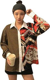 (ライチ) Lychee シャツ レディース 長袖 切り替え チック柄 可愛い おしゃれ ゆったり 通勤 ファッション カジュアル