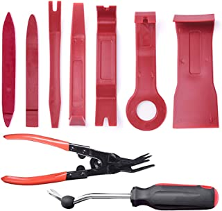 MICTUNING 9Pcs Trim Removal Tool Kits with Clip Plier Upgraded Fastener Remover Car Panel Door Audio Dash Window Molding Tool Kits
