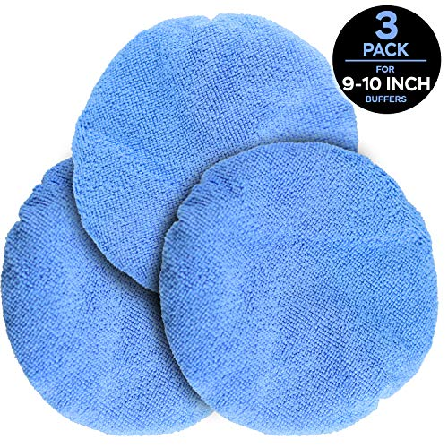 NextClimb Polishing Bonnet Applicator Pads - Double Thick Microfiber Bonnets - Reversible Soft Auto Buffing Wax Applicator Covers for Car Orbital Buffer Polisher (Large 9-10 Inches, 3-Pack)