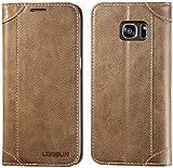 LENSUN Coque Galaxy S7 Edge, Housse étui Cuir Portefeuille avec Horizontale Rangements de Cartes et Fermeture Aimanté, pour Samsung Galaxy S7 Edge 5.5' - Café (S7E-DX-CE)