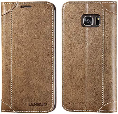 LENSUN Samsung Galaxy S7 Edge Hülle, Handyhülle Handytasche Samsung Galaxy S7 Edge (5.5 Zoll) Leder Tasche Huelle Flip Case Ledertasche Schutzhülle – Kaffee (S7E-DX-CE)