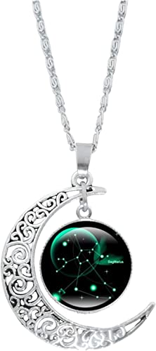 """discount OPTIMISTIC lowest Women Pendant Necklace, 12 Horoscope Necklace Valentines' Day Present, Fashion Alloy Jewelry Constellation outlet online sale Moon Necklace Gift for Women Girls,Teen,18"""" Birthstone Gift Chain online sale"""