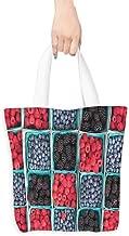 Handbag or crossbody messenger bag,Fruits Raspberries Grocery Basket,Canvas Grocery Shopping Bags with Handles,16.5