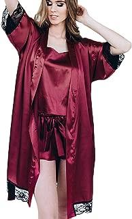 QIUUE Women's Satin Pajama Sexy Black Silk Satin Kimono Robe Lace Lingerie Bodydoll Sleepwear