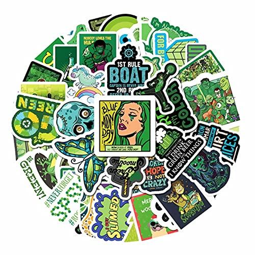 SHUYE Verde Piccoli Adesivi Animati freschi e Carini Graffiti Skateboard Fai da Te Conto a Mano Decorazione Giocattoli 50 Pezzi