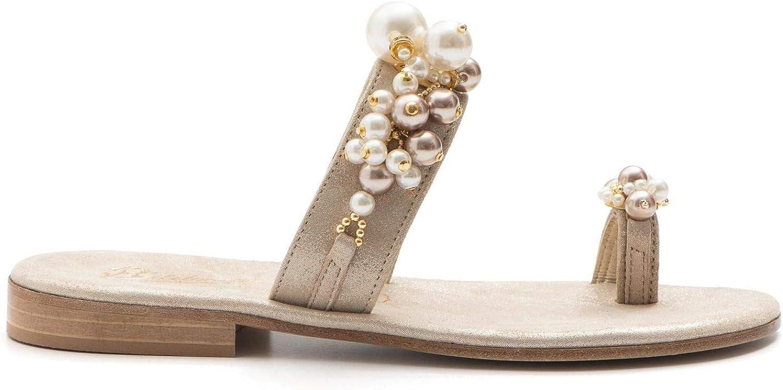 BALDUCCELLI - - Flip Flop Sandals in Suede with Pearls - K18BURMA Platino  Ihre Zufriedenheit ist unser Ziel