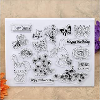 Kwan Crafts Happy Easter Happy Mother's Day Happy Birthday Flowers Butterfly Rabbit Clear Stamps for Card Making Decoration and DIY Scrapbooking