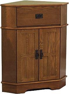 2 Door Corner Cabinet - Modern Accent Cabinet - Light Oak Finish Storage Stand - Display Living Room Furniture