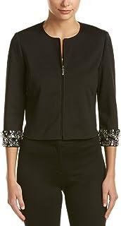 Anne Klein Women's Black Embellished-Sleeve Jacket