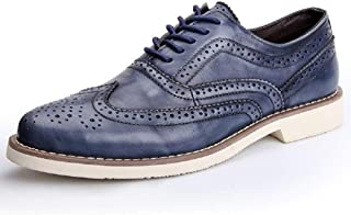 PengCheng Pang Brogue Shoes for Men Wingtip Oxfords Dress Shoe Lace-up Genuine Leather Carved Round Head Perforated Breathable Anti-Slip (Color : Blue, Size : 5.5 UK)