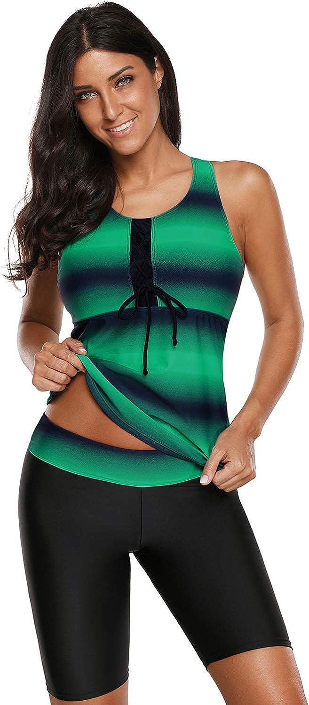 MMMJY Women's Color Block Racerback Tankini Swimsuits with Swim Capris Two Piece Plus Size Athletic Bathing Suit Swimwear