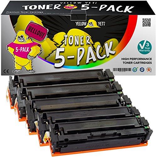 Yellow Yeti 201X Paquete de 5 Cartuchos de Tóner compatibles para HP Color LaserJet Pro MFP M277dw M277n M274n M252dw M252n | CF400X 2800 páginas CF401X CF402X CF403X 2300 páginas [3 años de garantía]