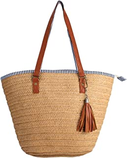 9f3bab55cd1d Sornean Summer Beach Straw Bag Top Handle Shoulder Bag Women Tote with  Tassels