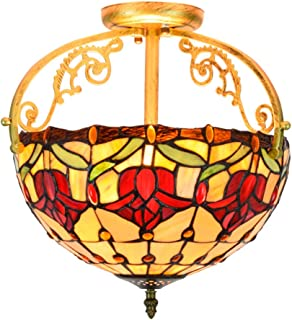 12 Inch Tiffany Style Ceiling Light, European Pastoral Red Tulip Stained Glass Shade Fixture Pendant Hanging Lighting for Dining Room Bedroom