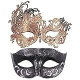2 Pieces Masquerade Mask for Couples, Venetian Mardi Gras Costume Ball Mask (Antique Silver Black & Rose Gold)
